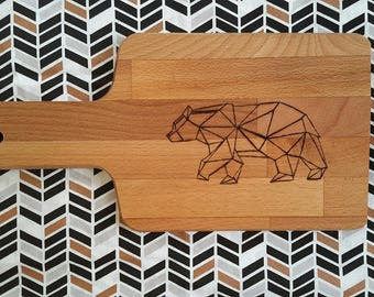 Bear, Origami, pyrography hand engraved bread Board