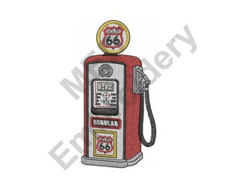 Gas - Machine Embroidery Design, Gas Pump, Route 66