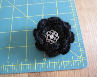 Black Crocheted Flower Brooch with metal button