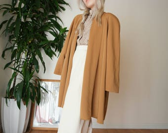 80s Mustard Yellow Open Long Jacket / Minimal Open Jacket / Flowy Long Open Blazer / Simple Long Open Jacket