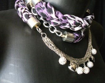 scarf purple and white necklace costume jewelry silver