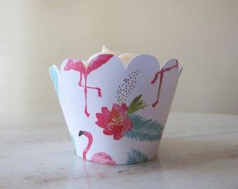 FLAMINGO Luau Party Cupcake Wrapper Sleeve ~ Wedding, Bridal Shower, Birthday Parties