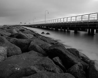 St Kilda pier, Melbourne, Black and white photography, Beach, St Kilda, Australia, Long exposure, Fine Art Photography