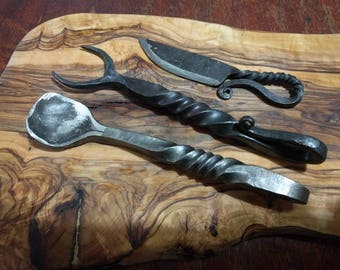 Viking banquet set - norse cutlery larp/reenactment accessories knife fork spoon