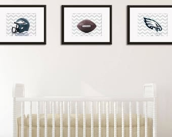 Discount set of 3 Nursery Philadelphia Eagles prints, boys room decor, Philadelphia Eagles, sports decor, Philadelphia Eagles baby boy
