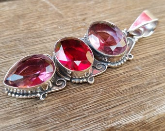 Garnet & Pink Amethyst Handmade Pendant