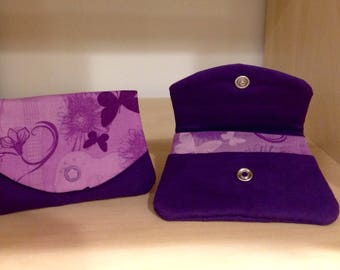 Purple Flower and Butterfly Wallet