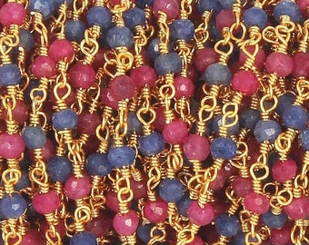 50% off 5 Feet Ruby & Blue Sapphire Beaded Chain 3mm Rosary Chain, 24K Gold Plated Wire Wrapped Chain CH149