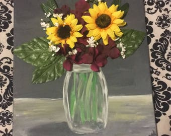 3D Flower Painting in Mason Jar Original