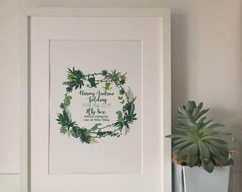Personalised Newborn Jungle Print