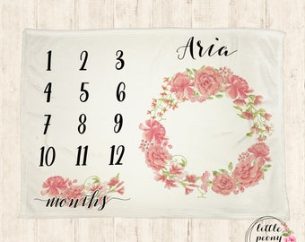 Baby Monthly Milestone Blanket - Foral Receiving Blanket Birthday Gift Photo Prop Blanket with Floral Wreath - 30x40, 50x60, 60x80