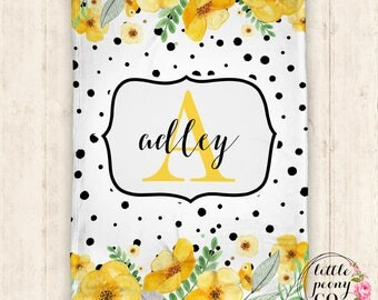 Personalized Baby Blanket - Baby Blanket - Personalized Blanket - Monogram - Floral Blanket - Baby Shower Gift -Personalized Gift - Floral