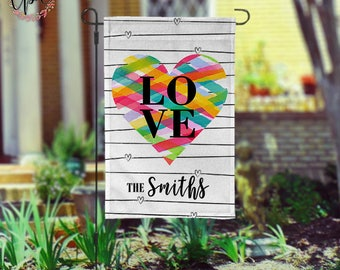 Personalized Valentines Day Garden Flag - Rainbow Heart LOVE Personalized Yard Flag