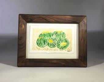 Framed Barrel Cactus Watercolor