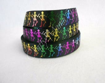 "Skeleton Rainbow Metallic Foil 1"" Grosgrain Ribbon by the yard. Choose between  3/5/10 yards."