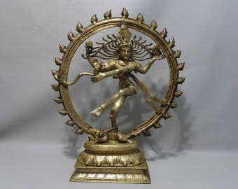 Very large bronze Shiva Nataraja-South India-mid 20th century