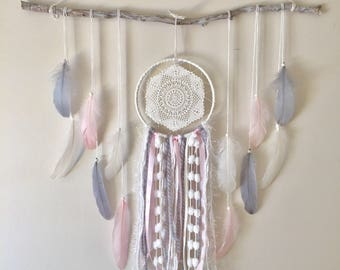 Dreamcatcher wall hanging, feather wallhanging, boho decor, bohonursery