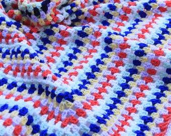 Handmade crochet Rainbow colours blanket