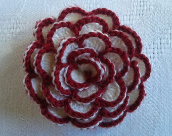large crocheted appliqué way Camellia flower