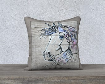 Unicorn Art Print Decor Pillow Cover, Fancy Unicorn, Mystical Unicorn, 18x18 Decor Pillow Cover, Fantasy Horse, Fantasy Animals