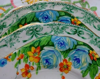 Helen - Wedding Job Lot of 4 Vintage Shabby Chic 2 Tier China Cake Stands