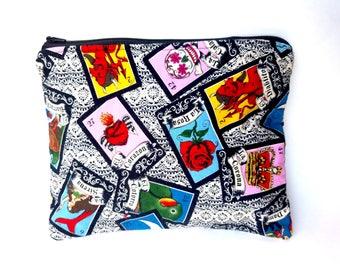 Cartas De Loteria zippered pouch, goth lined bag