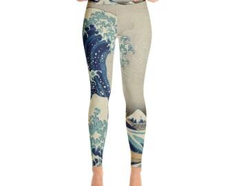 On Sale! Great Wave of Kanagawa, Hokusai - Yoga Leggings
