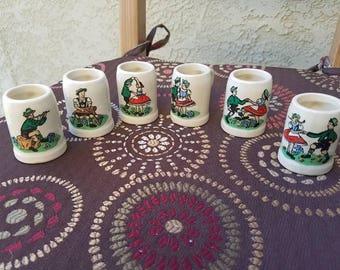 Vintage German Shot Glasses - Ceramic Mini Beer Steins - Set of 6