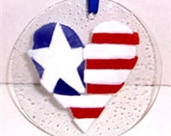 Sale! Fused Glass Suncatcher ~ Patriotic Heart~