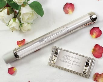 Personalised Silver Plated Graduation Christening Birth Baptism Certificate Holder
