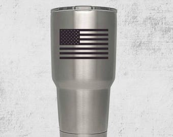 Custom Engraved Tumbler/ America/ Flag/Tumbler with lid/ PERSONALIZED/ Gift Idea/Custom Tumbler/Gift for Men/American Flag/Marines/Army/Navy