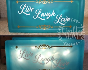 Live Laugh Love Glass Block with Lights 4x8