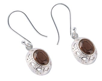 Smoky quartz 92.5 sterling silver earring