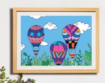 A3 flight, poster, Wall Art, digital print, illustration