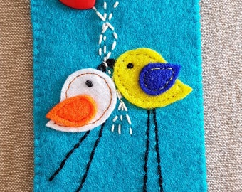 Bookmarks, felt bookmarks, handmade felt bookmarks, bookmarks with birds