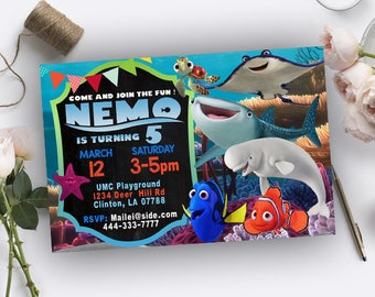 Finding Dory Invitation, Finding Dory Birthday, Finding Dory Birthday Invitation, Finding Dory Birthday Party, Finding Dory Party