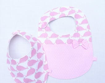 "Duo 0/24 months girl bibs ""whales"""