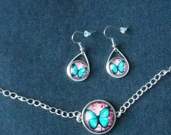 Blue butterfly set