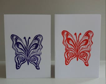 Butterfly Lino printed cards/Set of two cards/Original prints/Lino prints/Butterfly print/Note cards/Cards/Birthday cards/Nature/Blank cards