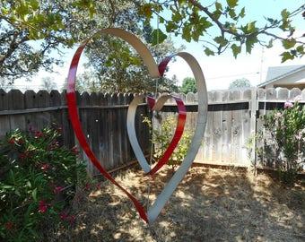 Hanging Wine Barrel Hoop Painted Duo of Hearts