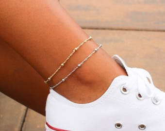 Satellite Chain Anklet / Dainty Gold Anklet / Silver Anklet / Gift Idea / Birthday Idea / Gold Silver Bead Anklet / Gold Chain Anklet
