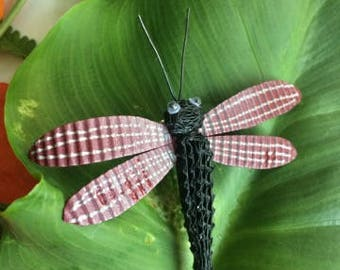 Painted cardboard Dragonfly brooch