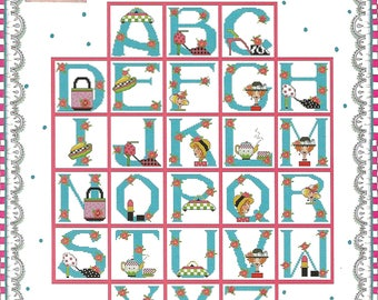 """ALMA LYNN """"ABCs for Mothers & Daughters"""" - Counted Cross Stitch Pattern - Alphabet, Letters, Mother Letters, Daughter Letters, 52 Designs"""