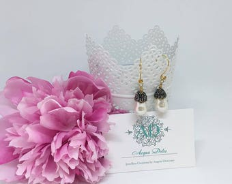 White Shell Pearl , pave  beads, pendant earrings