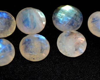 Natural rainbow moonstone  7 mm round rose cut loose gemstone