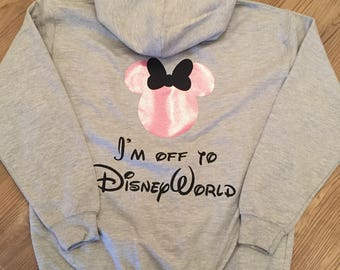 "Kids Disney Minnie ""I'm off to Disneyworld""  Hoodie - Personalised By You!"