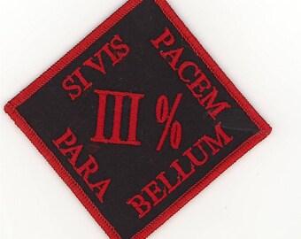 """Biker Militia 3% Percent Si Vis Pacem Para Bellum Patch (4"""")"""