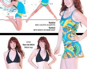 Jalie 3023 - Tankini with Briefs or Swim Skirt / 27 Sizes / Child & Adult