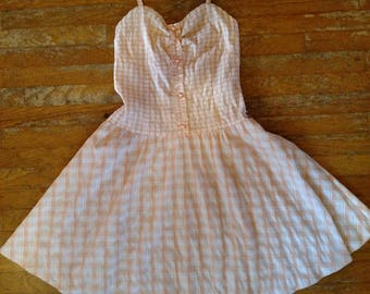 80's sundress, vintage designer, Grifflin Paris, gingham, 1980's fit'n'flare, spaghetti strap, checkered dress