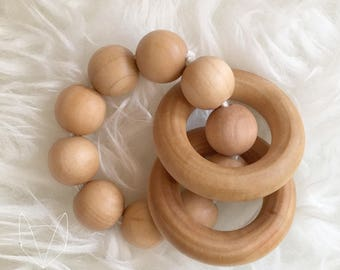 Wooden Rattle Ring Grasper Natural Sensory Wood Toy Baby Natural Parenting Waldorf Montessori Eco-friendly Gift Shower Non-toxic Organic